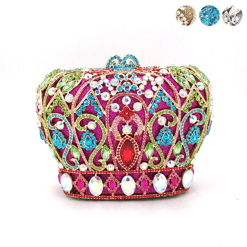 Women evening party handbag diamonds luxury crystal clutches elegant ladies purses bridal wedding party royal crown