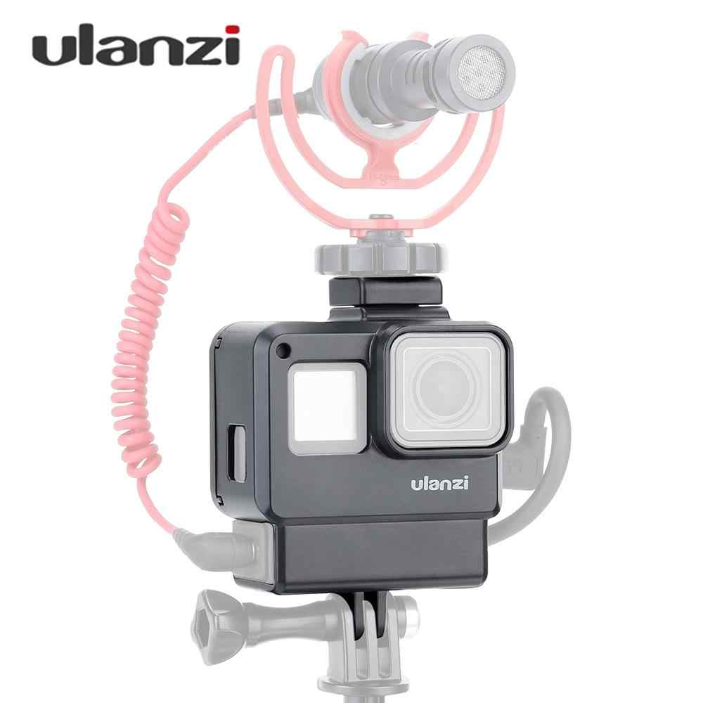 Ulanzi V2 Vlog Case Action Camera Housing Shell Cage Frame with Cold Shoe Mount for GoPro Hero for Microphone+3.5mm Mic Adapter