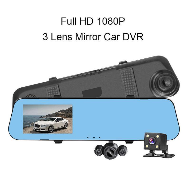 Full HD 1080 P Voiture DVR Caméra Automatique 4.3 Pouces Rétroviseur Numérique Vidéo Enregistreur Double Lentille D'enregistrement Caméra