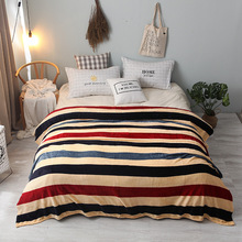 Cartoon Stripe Flannel Blanket Small Super Soft Warm Micro Plush Coral Fleece Bed Cover Bedspread Bedding Large Plush Plaid