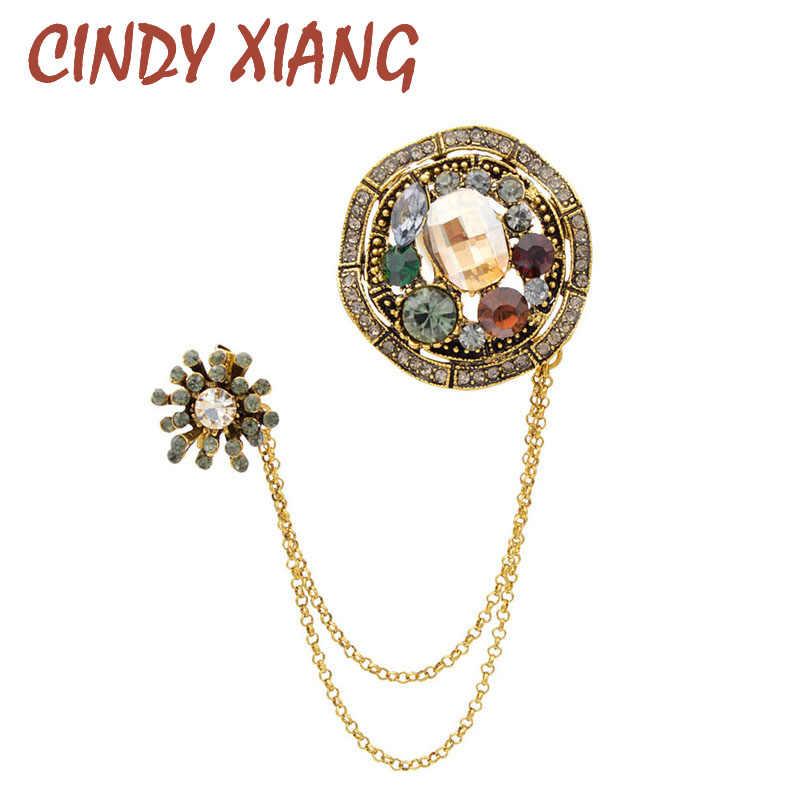 Cindy Xiang Baru Vintage Berlian Imitasi Bunga Bros untuk Wanita Pria Unisex Double Rumbai Pin Bros Mantel Perhiasan Hadiah Yang Bagus
