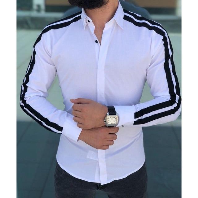 Plain Formal Business Long Sleeve Slim Fit Shirt 4