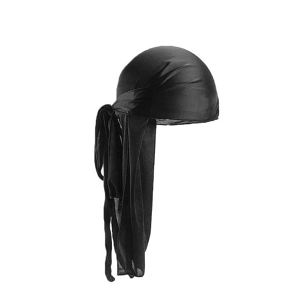 2019 Neue Unisex Lange Silk Satin Atmungs Turban Hut Perücken Doo Durag Biker Headwrap Chemo Kappe Piraten Hut Männer Haar zubehör