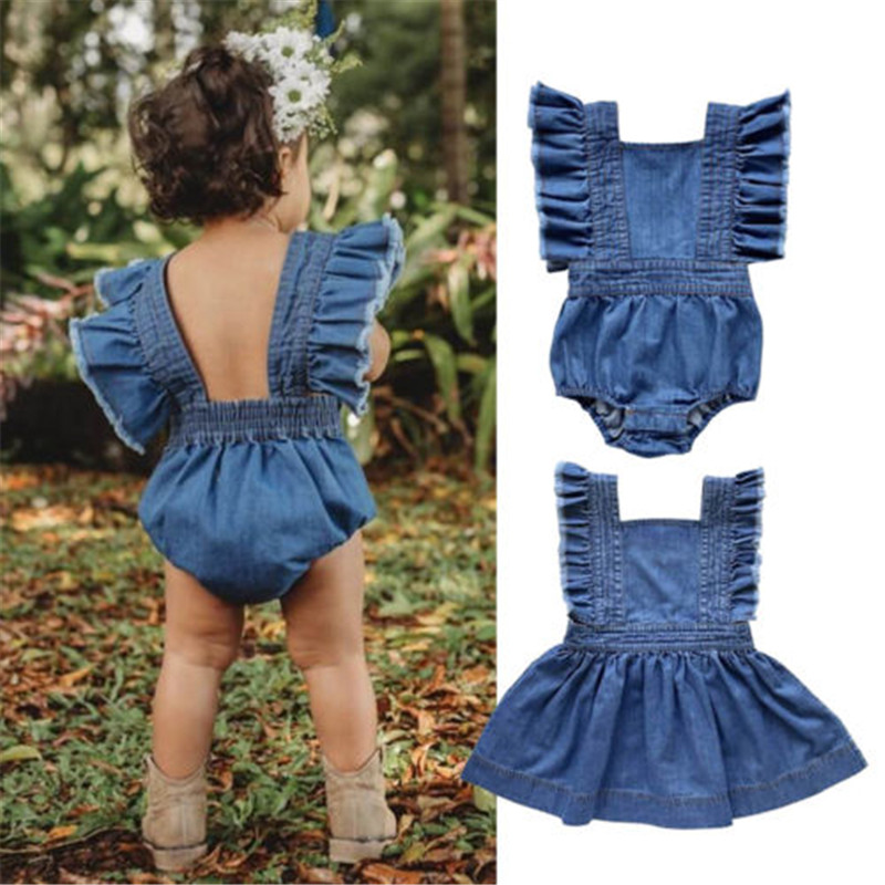 Dresses Orderly Brief Children Sisters Matching Clothes Kids Baby Girl Denim Dress Romper Ruffle Fly Sleeve Backless Summer Tutu Dress 6m-5y