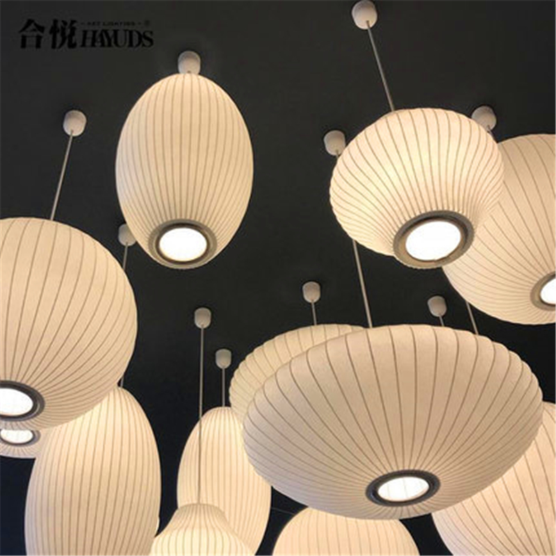 Modern Silk Tatami Pendant Light Staircase Danish Dining Hall Bar Clothing Shop Pendant Lamp Lantern Lampshade Restaurant Lustre