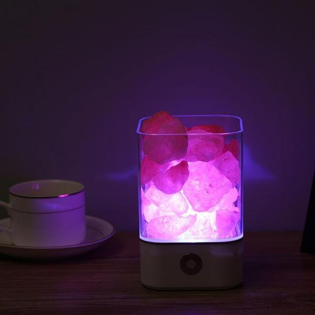 Usb alimentation naturel himalayen sel lampe Unique cristal sels veilleuse maison chambre éclairage décor artisanat 7 couleurs lumières