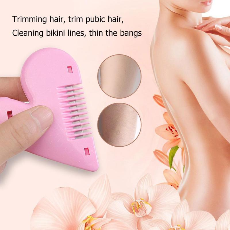 Beauty Hair Trimmer Love Heart Shape Thinning Hair Cutting Comb Pubic Hair Brushes With Blades Trimming Tools