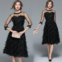 Vintage Evening Dresses Half Sleeve Unique Black Lace Short Party Gowns Women's A line Elegant Cheap Robe De Soiree