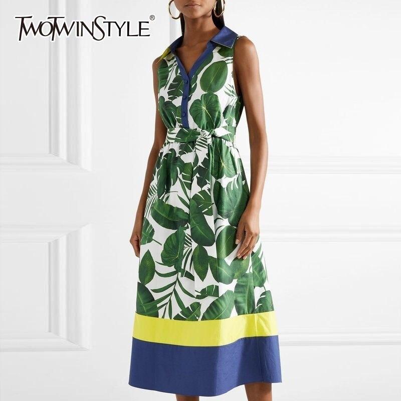 TWOTWINSTYLE Sleeveless Print Dresses For Women V Neck High Waist Hit Color Midi Dress Female Spring
