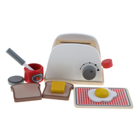 Kids Kitchen Cooking Toy Pretend Play Appliances Pop Up Wooden Bread Machine Egg Butter Food Playsets