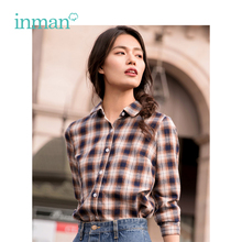 INMAN 2019 Spring New Arrival Turn Down Collar Retro Plaid Literary British Style All Matched Casual Long Sleeves Women Shirt все цены