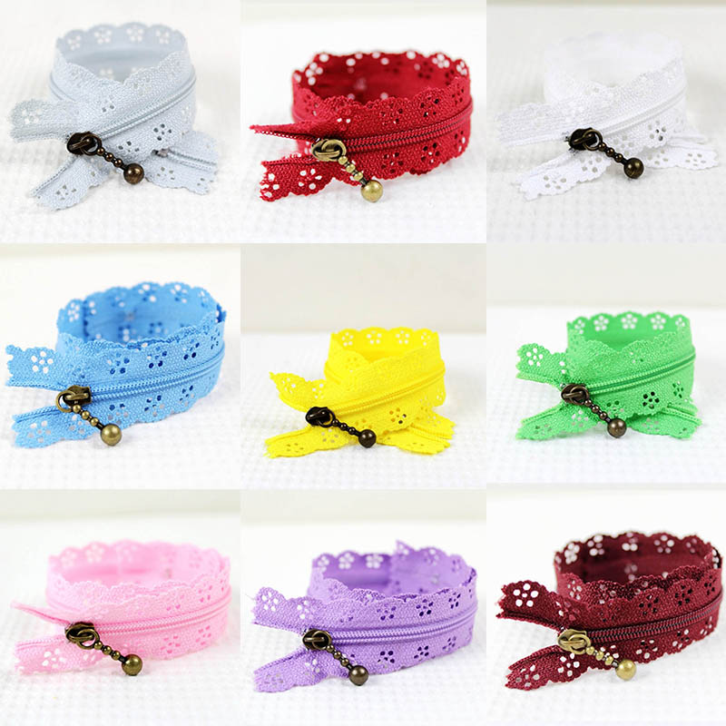 10pcs Lace Zipper Random Colors Sewing Wedding Dress Tailor Sewing Accessories Closure Craft Nylon Clothes Invisible Zippers