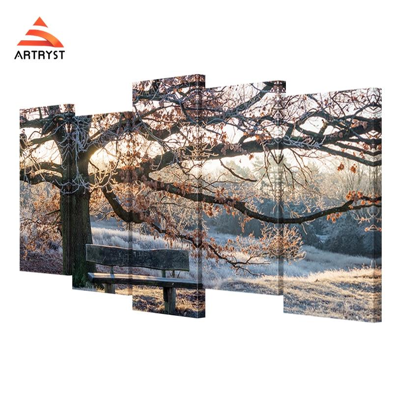 5 panelů modulární plátno umění malování zimní strom pod stolicí krajiny obrázek HD tisk na plátně moderní domácí nástěnné dekorace obrázek