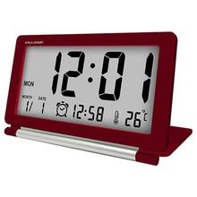 9cb41b52616 Despertador eletrônico Silencioso Relógio De Viagem Multifunções Digital Lcd  Tela Grande Relógio De Mesa Dobrável Temperatura