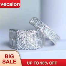 Vecalon Luxury แหวนชุด 5A Zircon Cz 925 (China)