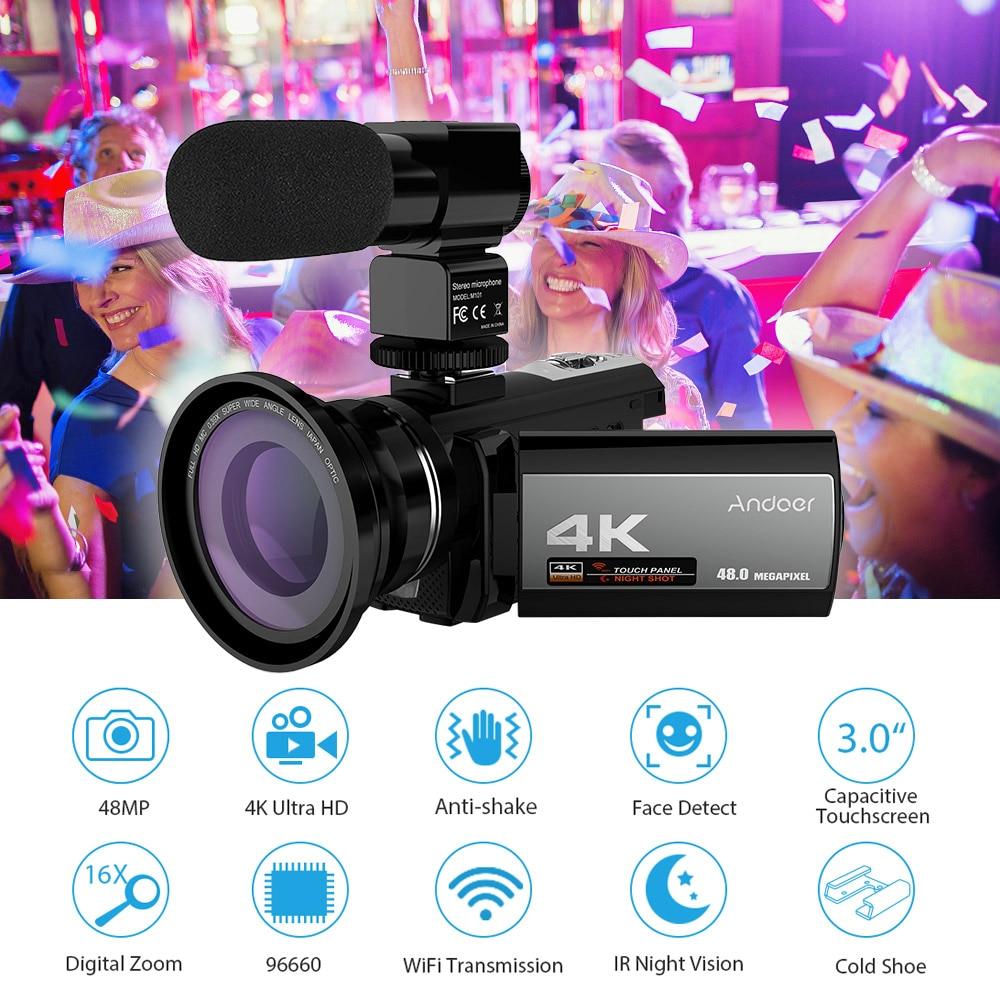 Andoer 4K 48MP WiFi Digital Video Camera External Microphone 0.39x Wide Angle Lens Mini LED Video Light 2pcs Battery Camera Bag