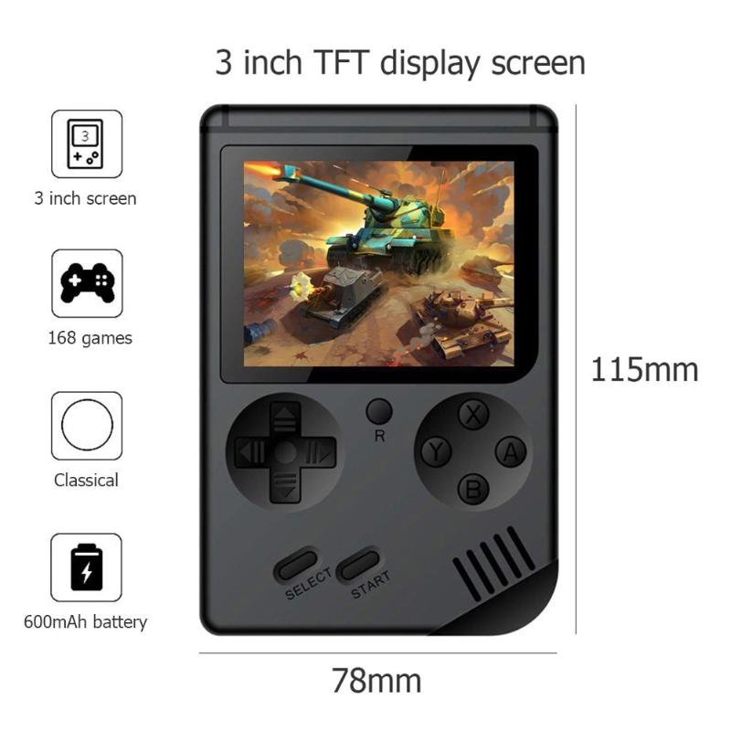 Built-in 168 Classic Games RS-6A Game Console 8 Bit Retro Mini Pocket Handheld Game Player Best Gift For Child Nostalgic Player