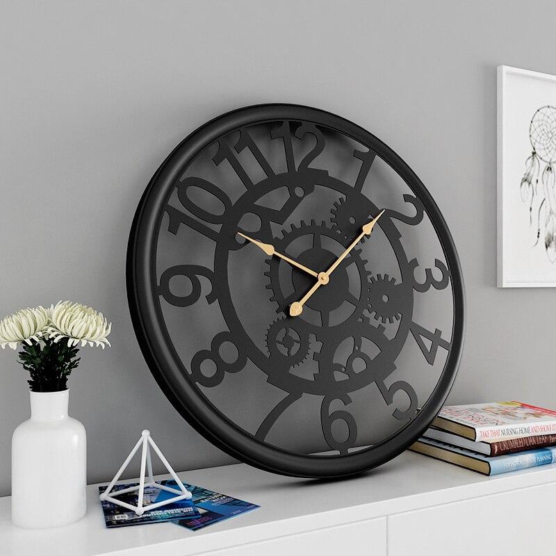 기어 단철 시계 산업 바람 벽시계 거실 성격 크리 에이 티브 홈 음소거 기계 장식 벽시계-에서벽결이 시계부터 홈 & 가든 의  그룹 1