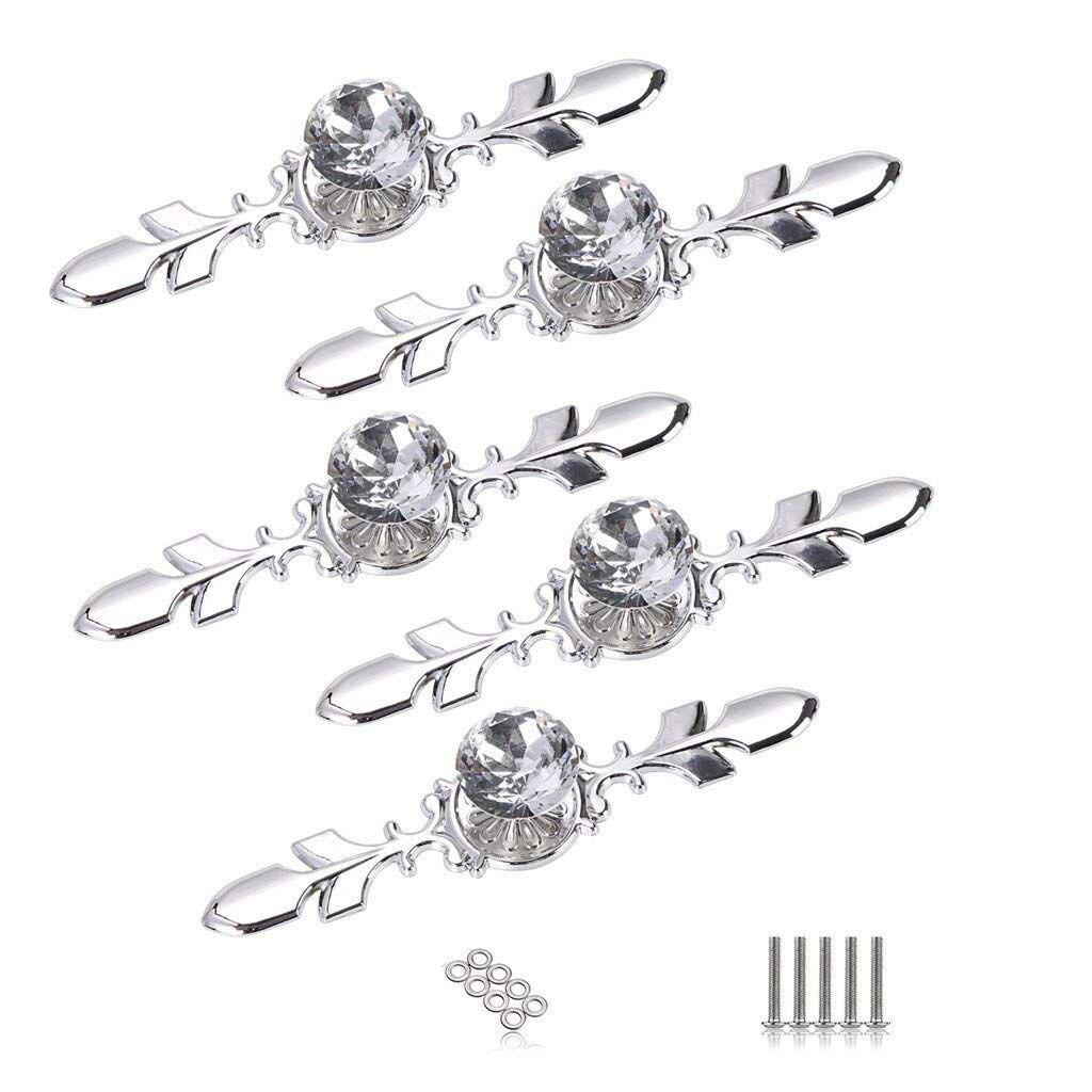 5 Pack ручки для кухонного шкафа с хрусталем с серебряной пластины-алмаз Форма ящика шкафа Ручка выдвижного ящика ручки Шкаф ящика