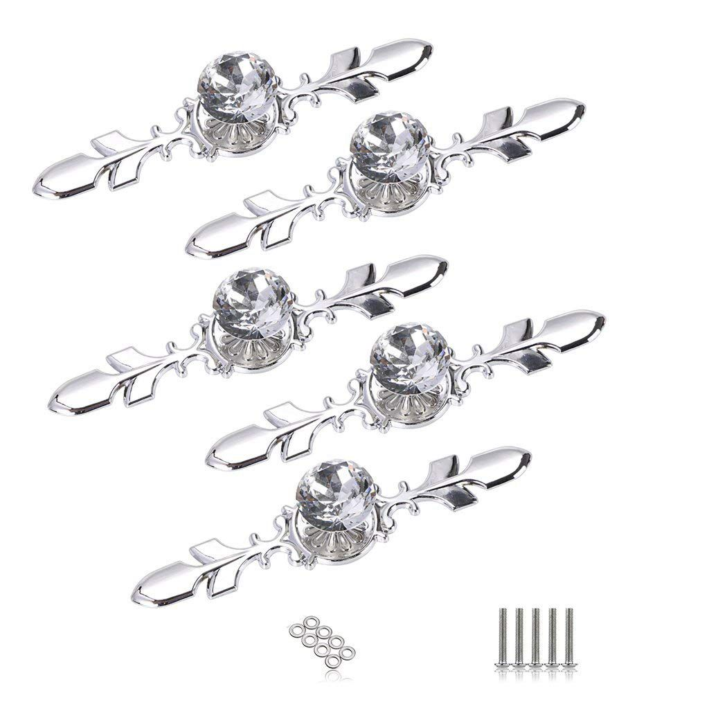 5 Pack Crystal Drawer Knobs With Silver Plate - Diamond Shape Cabinet Drawer Knob Drawer Pull Handle Cupboard Wardrobe Drawer