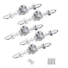 Drawer-Knobs Pull-Handle Wardrobe with Silver Plate-Diamond-Shape Cupboard 5-Pack Crystal