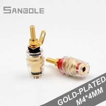 Banana Plug Socket Copper Gold-plated Power Amplifier Crystal Terminal Horn Connection Terminals M4*42mm