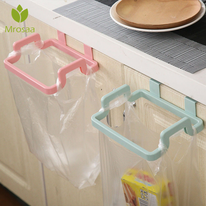 Cupboard  Bag Clips Door Back Trash Rack Storage Garbage Bag Holder Hanging Kitchen Cabinets Storage Towel Shelf Holders