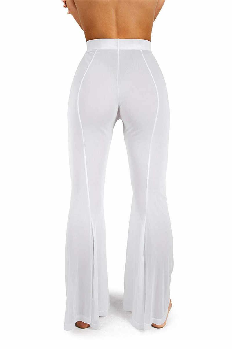 be1d5b8a6125a ... HIRIGIN Mesh Swimsuit CoverUp Long Pants for Women Sheer Beach Sexy  Swimwear Pant See Through ...