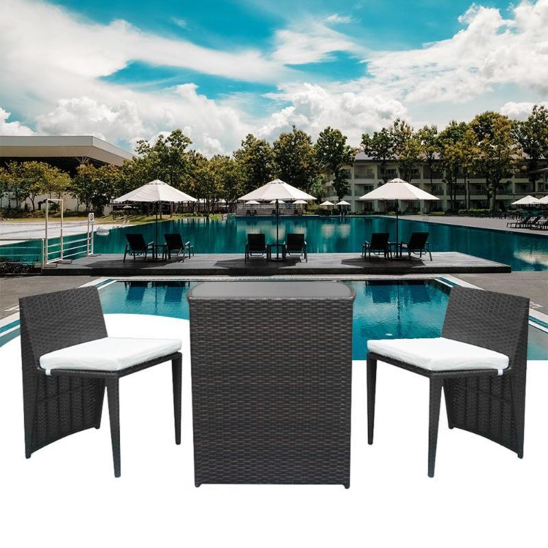 Brown Gradient 2pcs Chairs + 1 Bar Table Outdoor Modern Dessert Shop Cafe Rattan Sofa Set