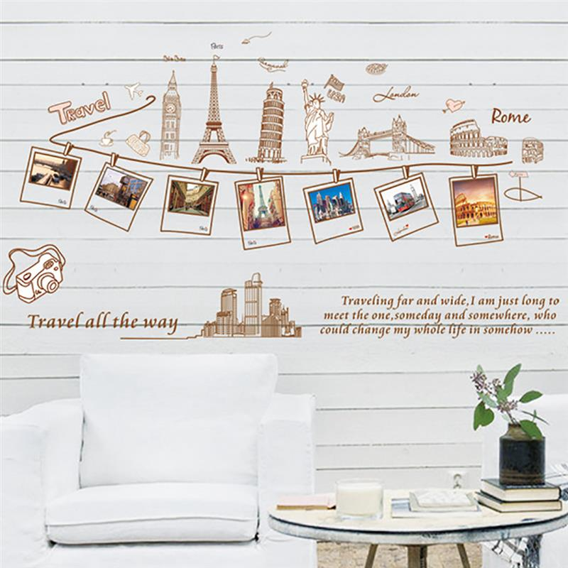 Wall Decal Sticker Removable Photo World Famous Building Travel Photo Wall Sticker Home Decor 3D Sticker Wall Stickers