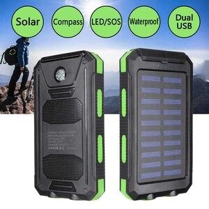 Image 2 - Водонепроницаемый портативный внешний аккумулятор на солнечной батарее, 20000 мач, зарядное устройство на солнечной батарее для сотового телефона, зарядные порты с двумя USB портами, светодиодная подсветка, карабин, компас