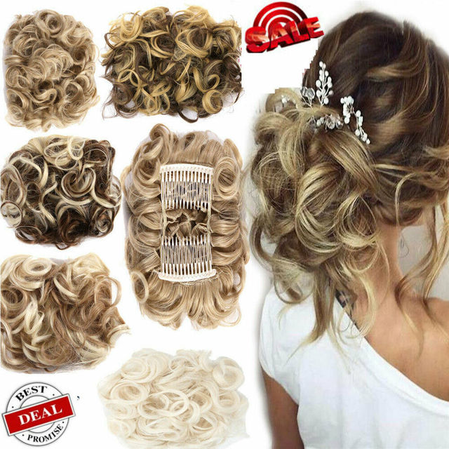 Большой гребень клип в вьющиеся волосы кусок шиньон Updo Свадебные накладные волосы булочка