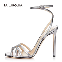 Metallic Sliver Gold Wrap Around High Heel Sandals Women Latest Black Heeled Summer Shoes Ladies Red Evening Dress Heels 2019