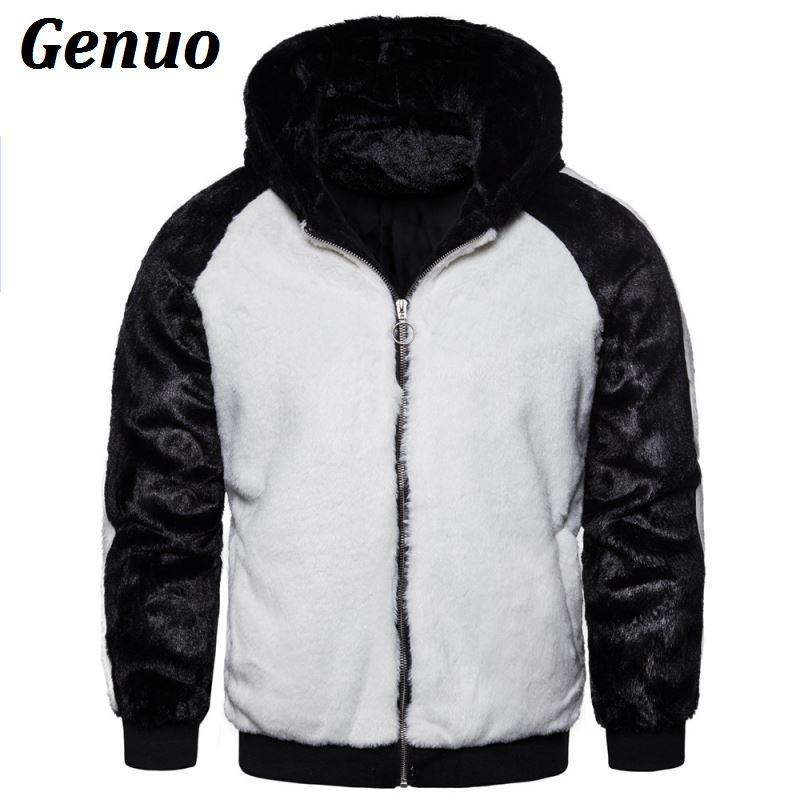 Genuo Winter Men Patchwork Faux Fur Parka Overcoat Color Block Hooded Coats Warm Jacket