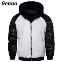 Genuo Winter Men Patchwork Faux Fur Parka Overcoat Men Color Block Hooded Fur Coats Men Fur Overcoat Warm Faux Fur Jacket Men