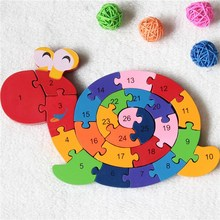 Купить с кэшбэком Kids Baby Toys 26 English Letters Educational Brain Game Kids Winding Snail Wooden Toys Wood 3D Puzzle Wood Toy YJS Drop
