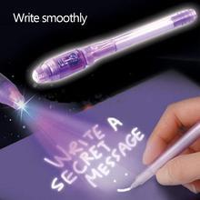 Волшебный светильник, набор канцелярских принадлежностей, невидимая чернильная ручка, популярный светодиодный детектор, для детей, секретное сообщение, 2 в 1, Волшебная невидимая чернильная ручка