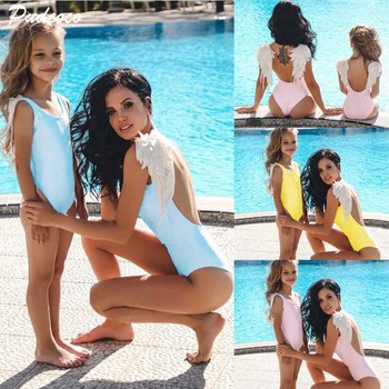 2018 Family Matching Mother Swimsuit Mother Daughter Women Kid Baby Girl Feather One Piece Bikini Swimwear Bathing Suit Beach