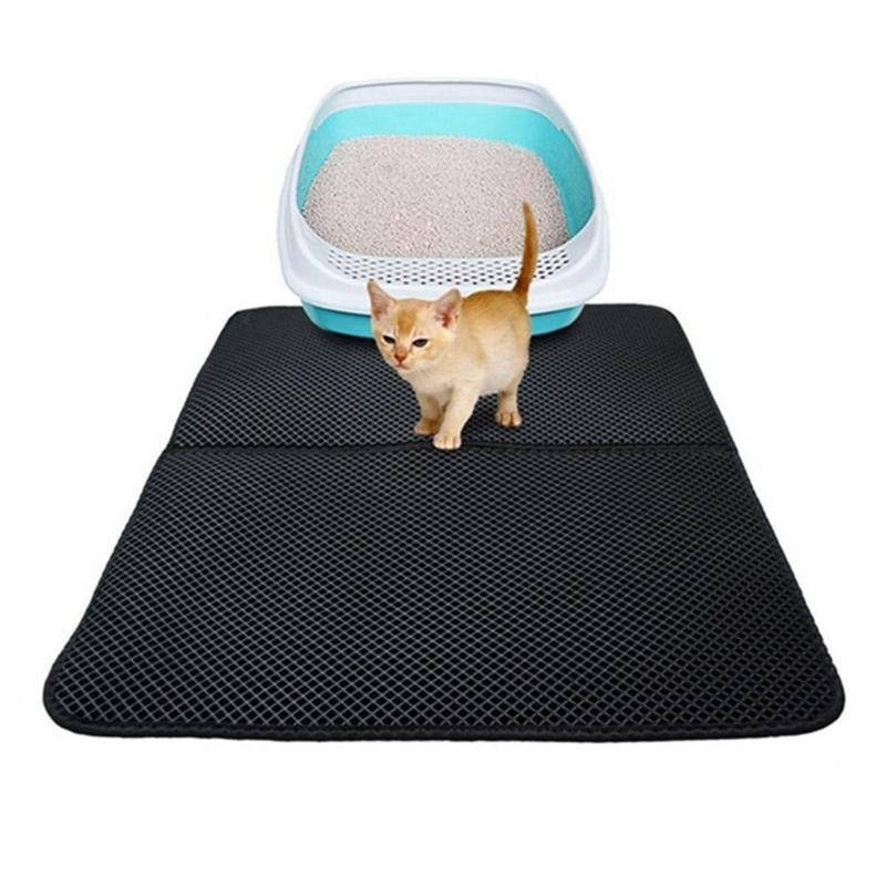 Cat Litter Mat Eva Double-layer Cat Litter Trapper Mats With Waterproof Bottom Layer + Pet Grooming Gloves Dropshipping