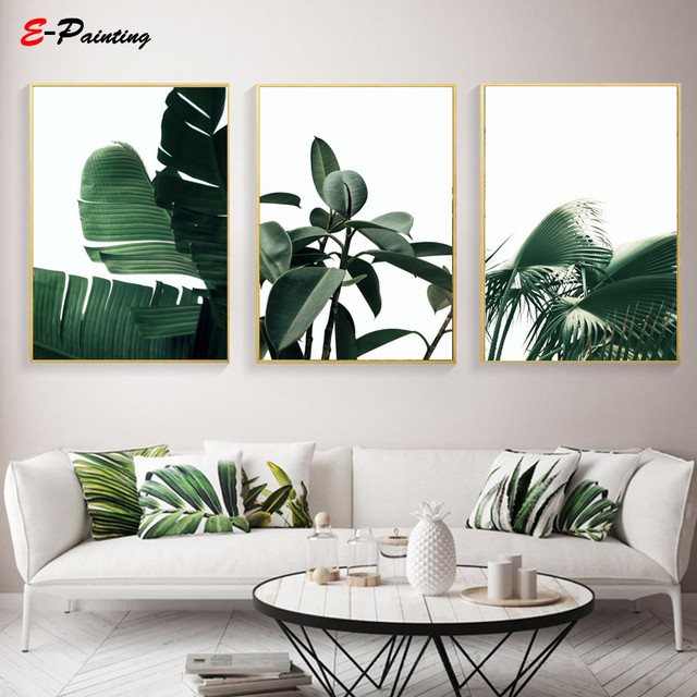 Modern Wall Art Tropical Green Plants Botanical Canvas Painting Posters Ficus Palm Banana Leaf Picture Living Room Home Decor