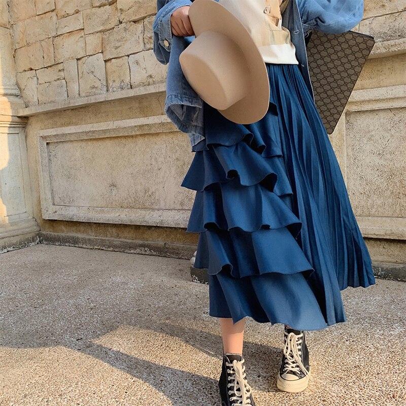 2019 Halfbody Q254 Nueva Falda Patchwork Plisado De Volantes Largo Primavera Alta Blue Moda Cintura Ropa Mujer Línea rrg47qZ