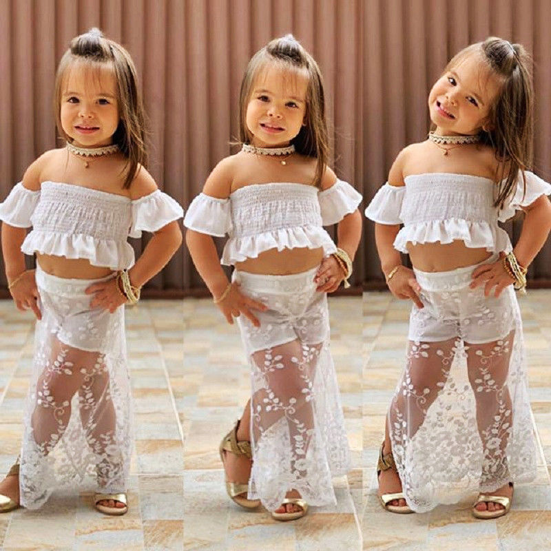 2019 Newest Style Toddler Kids Baby Girl White Lace Floral Tops Long Skirt Adorable 2Pcs Outfit Set Clothes Baby Clothing