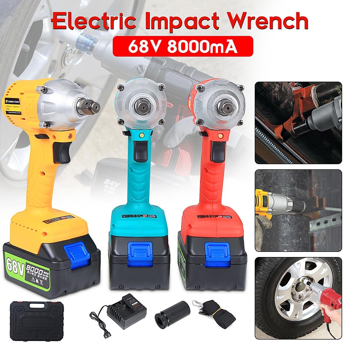 Brushless/ Cordless Electric Wrench Impact Socket Wrench 68V 8000mAh Li Battery Hand Drill Installation Power Tools цена