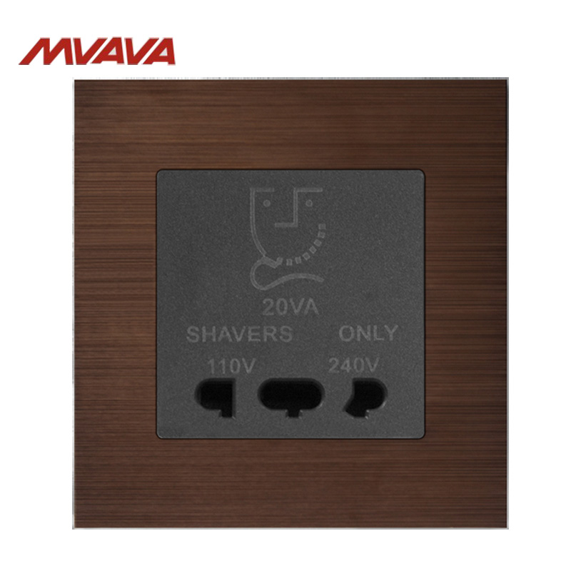 Free Shipping,MVAVA Bathroom Shaver Outlet Shaving Wall Decorative Socket Dual Voltage Receptacle Luxury Decorative Luxury Brown