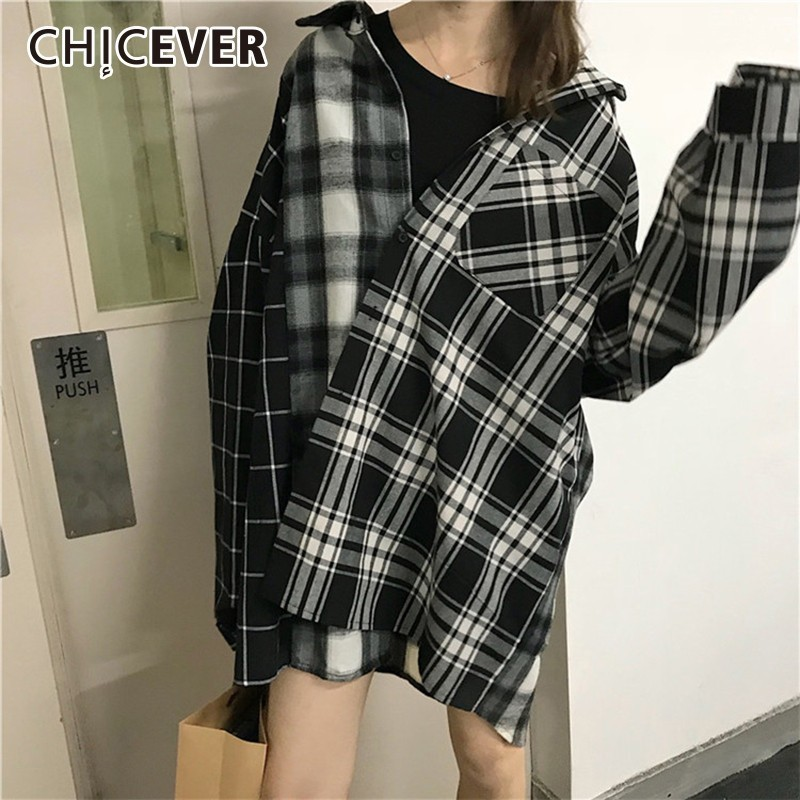 CHICEVER Patchwork Plaid Womens Tops And   Blouses     Shirt   Lapel Batwing Long Sleeve Single Breasted   Blouse   Autumn Korean Fashion