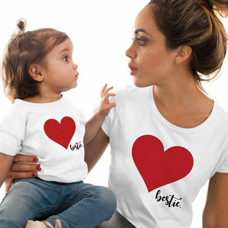 dc082d48d9 ... Mommy Mini Me Tee Cotton Family Matching Outfits Mother And Daughter  Heart Printed T-shirts ...
