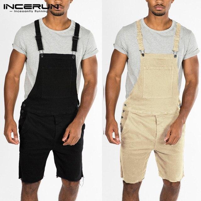Erkek Pantolon Romper Cepler Pamuk Katı Pantolon Erkekler Sapanlar Playsuits Streetwear Moda Rahat Pantolon Tulum Artı Boyutu INCERUN