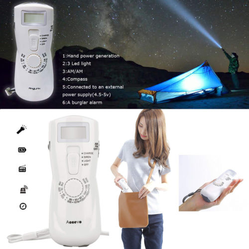 Emergency Solar Hand Crank Dynamo AM/FM Weather Radio LED Torch Charger Defense Flashlight Stick