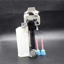 2pcs Mixing Nozzle Mixer + 10:1 50ml Dispensing Gun Epoxy Resin Gun Dispenser Applicator + 50ml Glue Cartridge (Ratio 10:1)