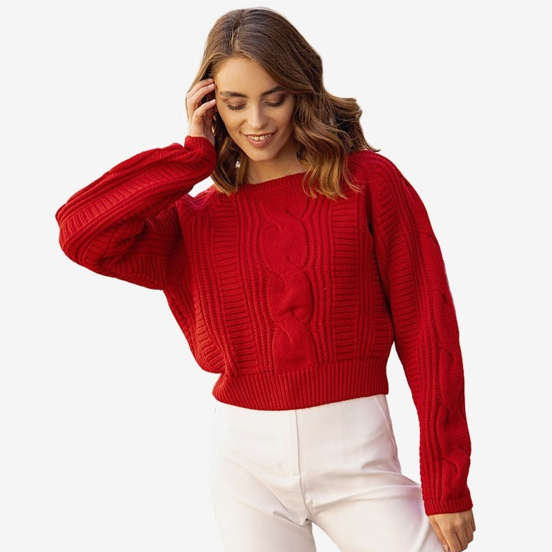 Sweater pigtail. Color red. striped color block sweater